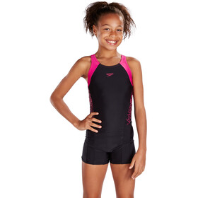 speedo Boom Splice Legsuit Girls Black/Electric Pink